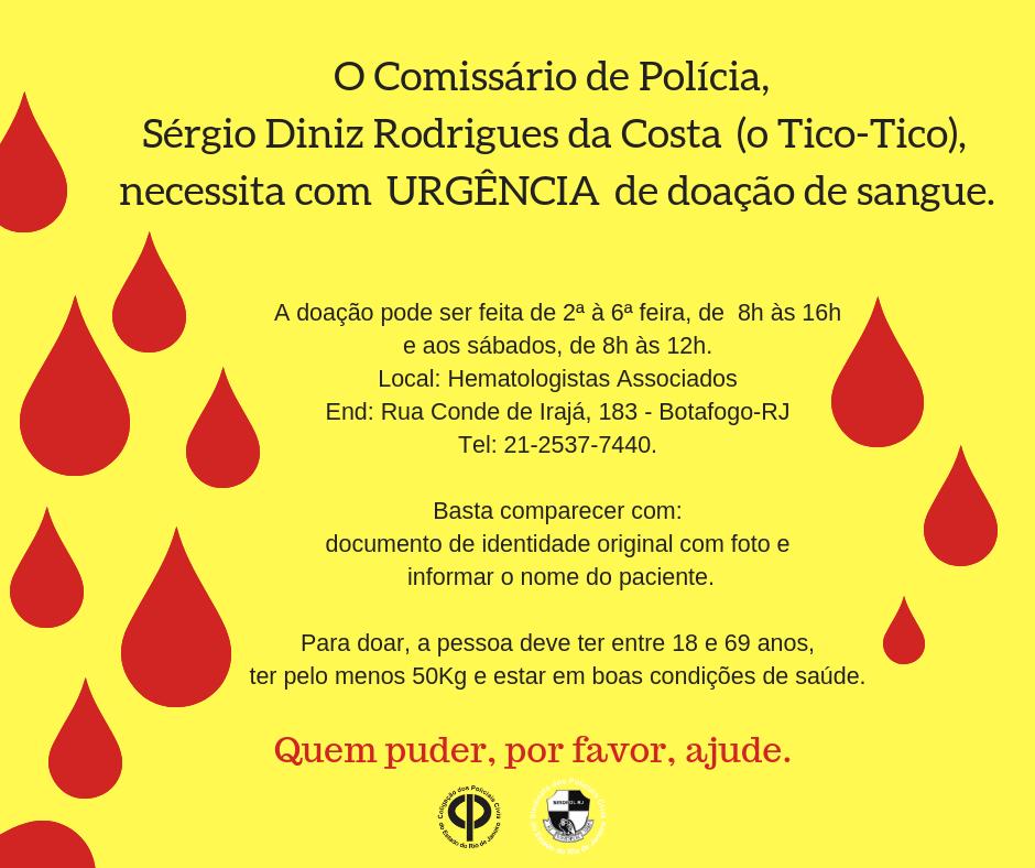 O Inspetor de Polícia, Lino da Costa Gomes, necessita com URG_ENCIA de doação de sangue_plaqueta (de qualquer tipo) em virtude de um grave tratamento de saúde.